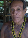 Panama - Chagres National Park: Embera Drua man with necklace - photo by H.Olarte