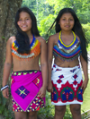 Panama - Chagres National Park: Embera girls pose for the camera - at 14, they are both mothers - Panama province - photo by H.Olarte