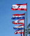 Asunci�n, Paraguay: city and Paraguay flags - photo by A.Chang