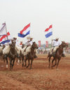 Luque, Departamento Central, Paraguay: horse riders with Paraguayan flags - photo by A.Chang