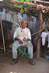 Presidente Hayes department, Paraguay: Maka indian with arrow and bow - near Puente Remanso - photo by A.Chang