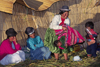 Lake Titicaca, Puno region, Peru: Aymara woman hoists baby at a wedding celebration on the main floating island - women with typical hats - photo by C.Lovell