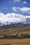 Ausangate massif, Cuzco region, Peru: adobe farm houses on the high Altiplano on the Nevado Auzangate curcuit- Peruvian Andes - Cordillera Blanca - photo by C.Lovell