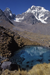Ausangate massif, Cuzco region, Peru: one of the Sacred Blue Pools reflects Cerro Ausangate's north face- Peruvian Andes - photo by C.Lovell