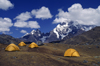 Ausangate massif, Cuzco region, Peru: camp #6 near the village of Pacchanta with Nevado Ausangate behind- Peruvian Andes - photo by C.Lovell