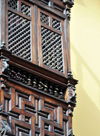 Lima, Peru: Moorish wooden balcony at the Palace of the Marquis Torre Tagle - former treasurer of the Spanish Armada - 18th century - offices of the Foreign Ministry - Mashrabiya oriel window - photo by M.Torres