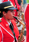 Lima, Peru: Saxophone player of the Peruvian National Police marching band - Plaza de Armas - change of the guard parade - photo by M.Torres