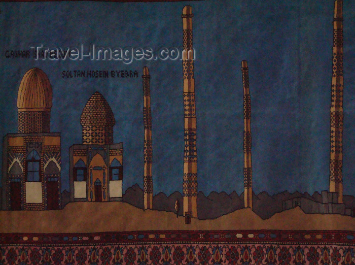 afghanistan39: Herat, Afghanistan: Afghan carpet displaying the Musalla minarets, Gawharshad Bigum and Sultan Husain Byqara monument - photo by N.Zaheer - (c) Travel-Images.com - Stock Photography agency - Image Bank