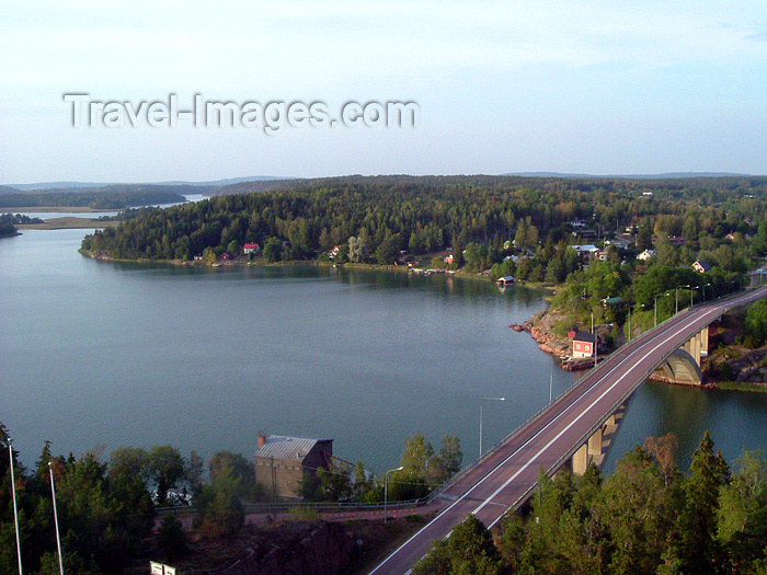 aland5: Åland Islands - Fasta Åland - Godby, Finström: view from Höga C at the café 'Uffe på berget' - bridge - photo by P&T Alanko - (c) Travel-Images.com - Stock Photography agency - Image Bank