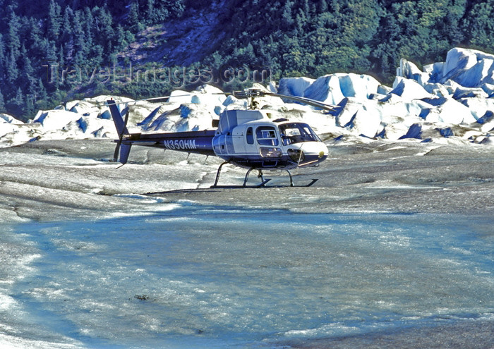 alaska116: Alaska - Glacier Bay NP: helicopter - Eurocopter AS350 A-star on the ice - Northstar Trekking LLC - photo by A.Walkinshaw - (c) Travel-Images.com - Stock Photography agency - Image Bank
