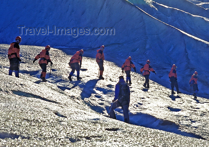alaska127: Alaska - Glacier Bay NP: Glacier Track - group climbing (photo by A.Walkinshaw) - (c) Travel-Images.com - Stock Photography agency - Image Bank