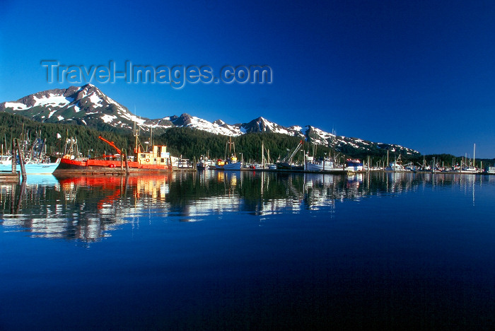 alaska133: USA - Alaska - Cordova: reflection - boats and mountains - mouth of the Copper River - Orca Inlet - Prince William Sound - photo by J.Fekete - (c) Travel-Images.com - Stock Photography agency - Image Bank