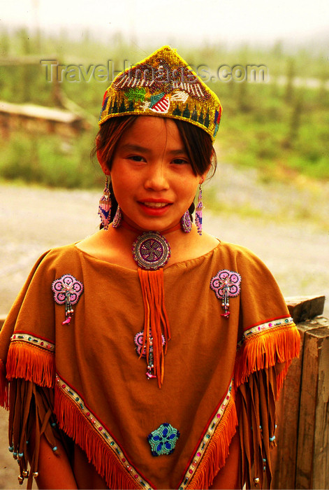 alaska136: Brooks range, Alaska: Gates of the Arctic National Park and Preserve - Arctic village - a young Athabaskan girl with a traditional costume - photo by E.Petitalot - (c) Travel-Images.com - Stock Photography agency - Image Bank