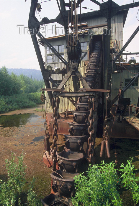 alaska186: Alaska - Yukon river: old machine for gold extraction  - photo by E.Petitalot - (c) Travel-Images.com - Stock Photography agency - Image Bank