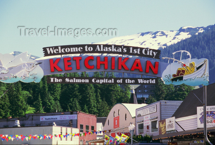 alaska194: Ketchikan, Alaska: sign for the famous fishing town of Ketchikan in south Alaska - photo by E.Petitalot - (c) Travel-Images.com - Stock Photography agency - Image Bank