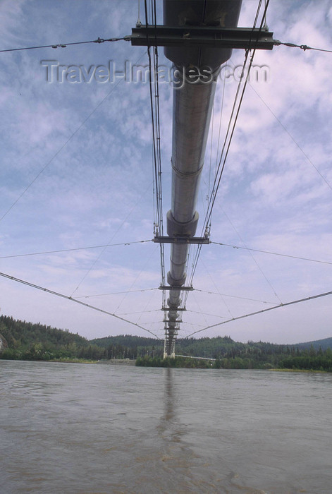 alaska195: Tanana river, Alaska: the trans-Alaska pipeline crossing the river - photo by E.Petitalot - (c) Travel-Images.com - Stock Photography agency - Image Bank
