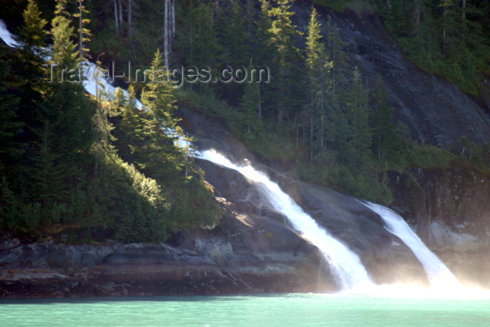 alaska56: Alaska's Inside Passage - Tracy Arm Fjord : twin falls (photo by Robert Ziff) - (c) Travel-Images.com - Stock Photography agency - Image Bank