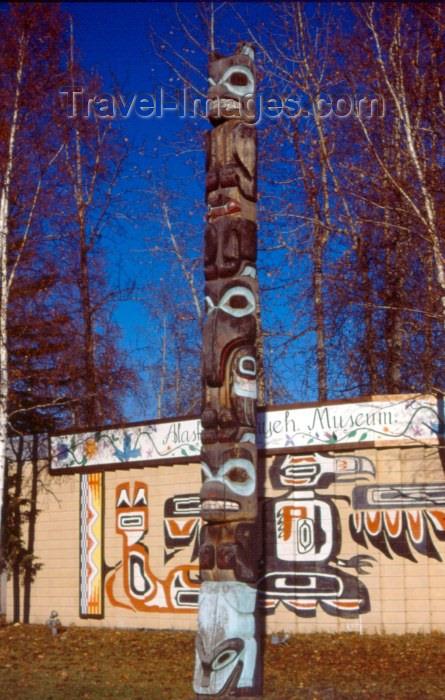 alaska6: Alaska - Fairbanks / FAI: totem at Alaskaland - photo by F.Rigaud - (c) Travel-Images.com - Stock Photography agency - Image Bank