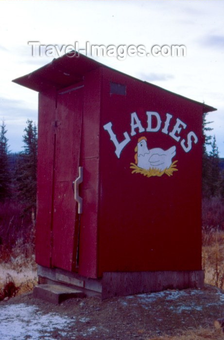 alaska7: Alaska - Chicken: ladies restrooms - WC - public toilet - hut - photo by F.Rigaud - (c) Travel-Images.com - Stock Photography agency - Image Bank