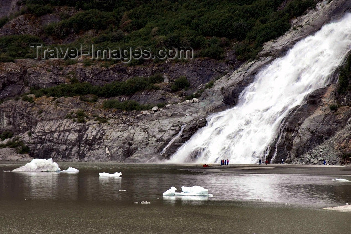 alaska80: Alaska - Juneau: observing a 1000 foot waterfall (photo by Robert Ziff) - (c) Travel-Images.com - Stock Photography agency - Image Bank