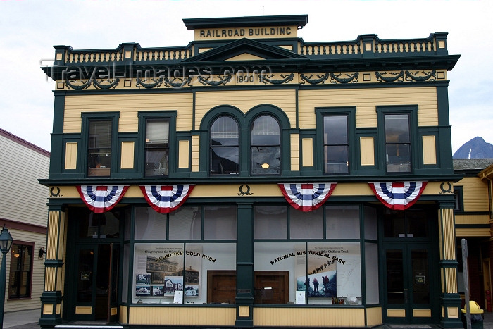 alaska95: Alaska - Skagway: Klondike gold rush national historical park - former Railroad building (photo by Robert Ziff) - (c) Travel-Images.com - Stock Photography agency - Image Bank