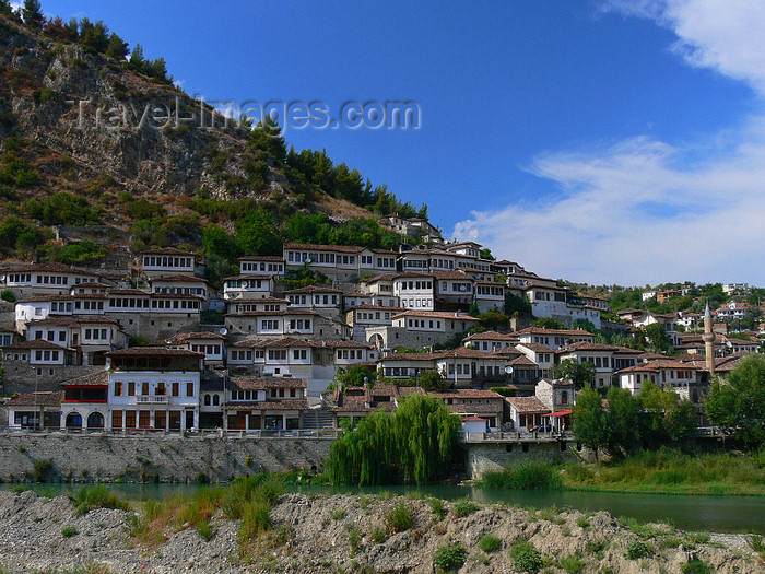 albania115: Berat, Albania: the town, the mountain and the river Osum - UNESCO World Heritage site - photo by J.Kaman - (c) Travel-Images.com - Stock Photography agency - Image Bank