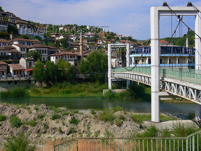 albania117: Berat, Albania: suspension bridge of the river Osum - photo by J.Kaman - (c) Travel-Images.com - Stock Photography agency - Image Bank
