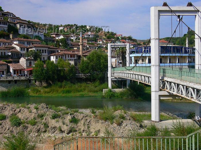 albania117: Berat, Albania: suspension bridge of the river Osum - photo by J.Kaman - (c) Travel-Images.com - Stock Photography agency - Image Bank