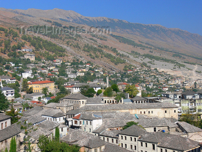 albania119: Gjirokaster, Albania: roofs and mountains - UNESCO World Heritage Site - photo by J.Kaman - (c) Travel-Images.com - Stock Photography agency - Image Bank