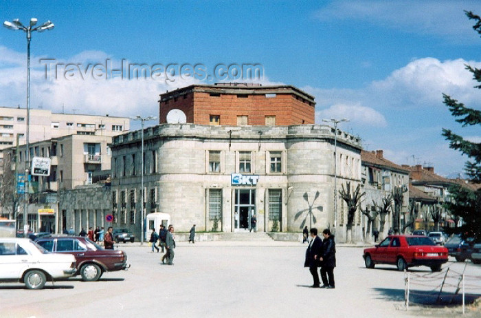 albania14: Albania / Shqiperia - Korçë / Korça / Korce: bank on the main square - photo by M.Torres - (c) Travel-Images.com - Stock Photography agency - Image Bank