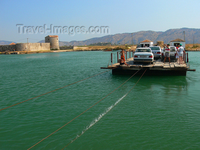 albania149: Butrint, Sarandë, Vlorë County, Albania: Butrint Lake - castle and cable ferry - photo by J.Kaman - (c) Travel-Images.com - Stock Photography agency - Image Bank