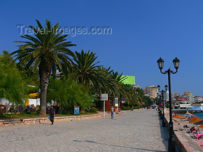 albania151: Sarandë, Vlorë County, Albania: palm lined promenade - photo by J.Kaman - (c) Travel-Images.com - Stock Photography agency - Image Bank