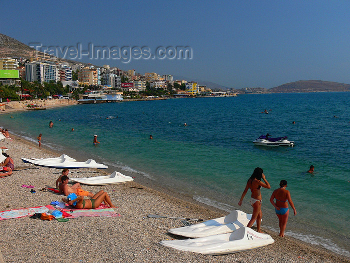 albania152: Sarandë, Vlorë County, Albania: beach life on the Ionian sea - pebble beach on the Albanian Riviera - photo by J.Kaman - (c) Travel-Images.com - Stock Photography agency - Image Bank