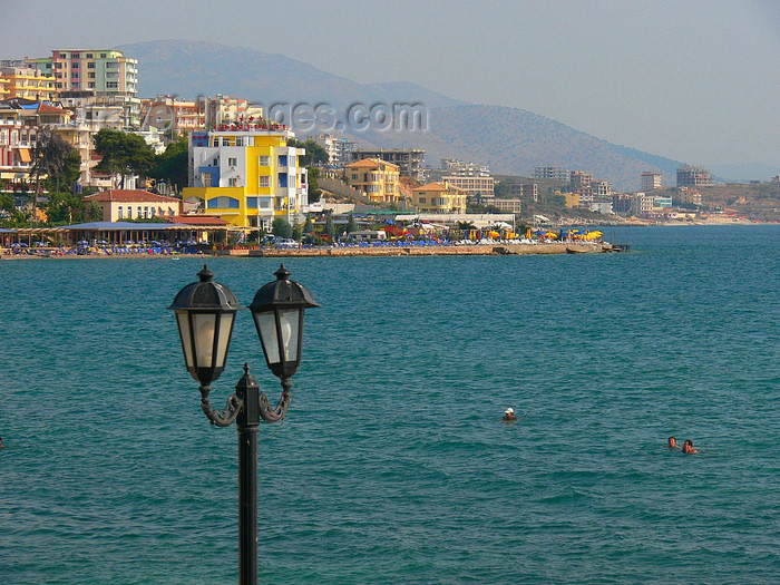 albania153: Sarandë, Vlorë County, Albania: street lamp and the waterfront - photo by J.Kaman - (c) Travel-Images.com - Stock Photography agency - Image Bank