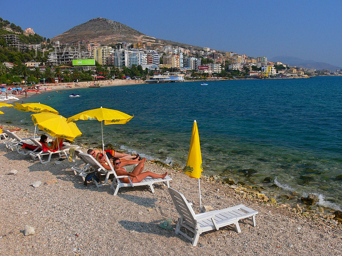 albania154: Sarandë, Vlorë County, Albania: beach scene - chairs by the Ionian sea - Albanian Riviera - photo by J.Kaman - (c) Travel-Images.com - Stock Photography agency - Image Bank