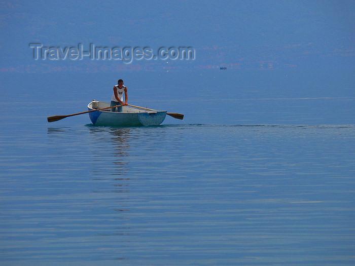 albania157: Pogradec, Korçë County, Albania: rower on Ohrid Lake - photo by J.Kaman - (c) Travel-Images.com - Stock Photography agency - Image Bank