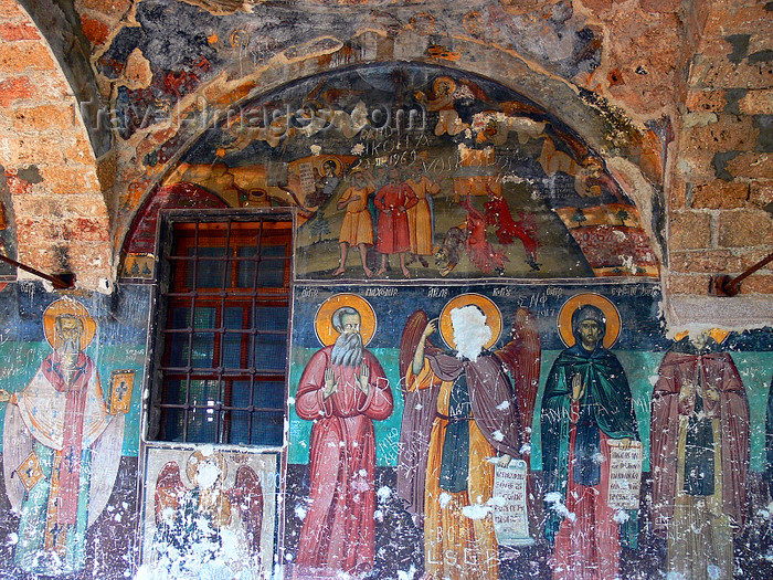 albania169: Moscopole / Voskopojë / Voskopoja, Korçë county, Albania: Saint Althanase Church - vandalised frescoes of the Vlach /Aromanian period - photo by J.Kaman - (c) Travel-Images.com - Stock Photography agency - Image Bank