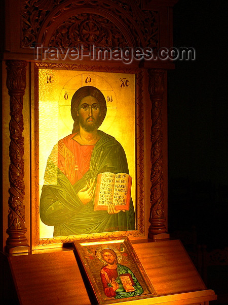 albania172: Korçë , Albania: beautiful Orthodox icon - Jesus Christ - photo by J.Kaman - (c) Travel-Images.com - Stock Photography agency - Image Bank