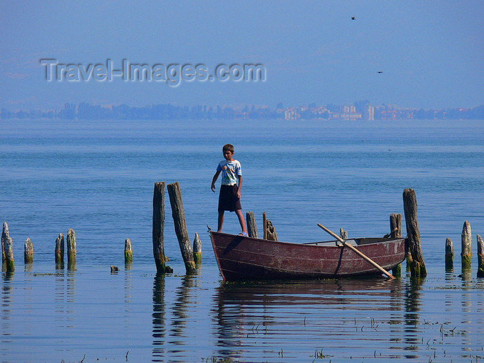 albania179: Pogradec, Korçë County, Albania: Ohrid Lake - a boy and his boat - photo by J.Kaman - (c) Travel-Images.com - Stock Photography agency - Image Bank