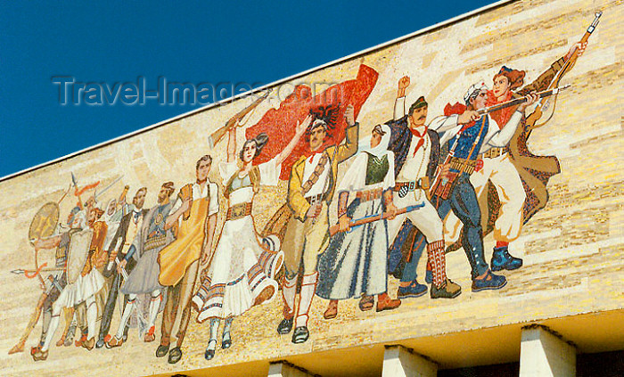 albania38: Albania / Shqiperia - Tirana: the workers vanguard - mosaic at the Albanian National Culture Museum - photo by G.Frysinger - (c) Travel-Images.com - Stock Photography agency - Image Bank