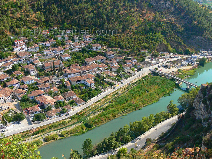 albania39: Berat, Albania: town, river Osum and Ottoman bridge seen from above - photo by J.Kaman - (c) Travel-Images.com - Stock Photography agency - Image Bank
