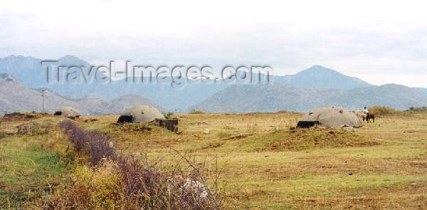 albania5: Albania / Shqiperia - Kopliku, Shkodër county: Hoxha's not so wild mushrooms - bunkers - photo by M.Torres - (c) Travel-Images.com - Stock Photography agency - Image Bank