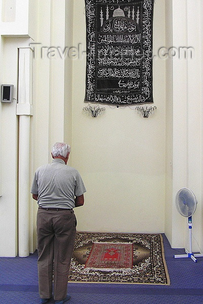 albania56: Albania / Shqiperia - Shkodër/ Shkoder / Shkodra: Muslim man praying inside the Al-Zamil Mosque - photo by J.Kaman - (c) Travel-Images.com - Stock Photography agency - Image Bank