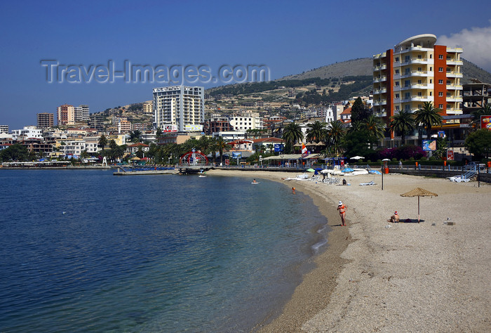 albania68: Sarandë, Vlorë County, Albania: jewel of the 'Albanian Riviera' - beach and promenade - photo by A.Dnieprowsky - (c) Travel-Images.com - Stock Photography agency - Image Bank