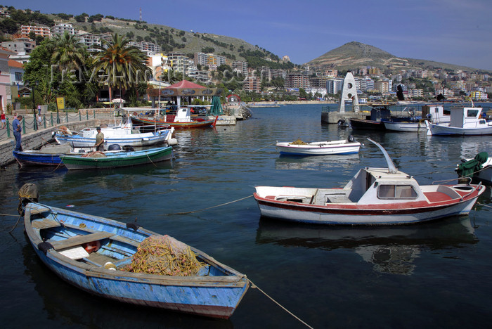 albania70: Sarandë, Vlorë County, Albania: fishing boats and the bay  - photo by A.Dnieprowsky - (c) Travel-Images.com - Stock Photography agency - Image Bank