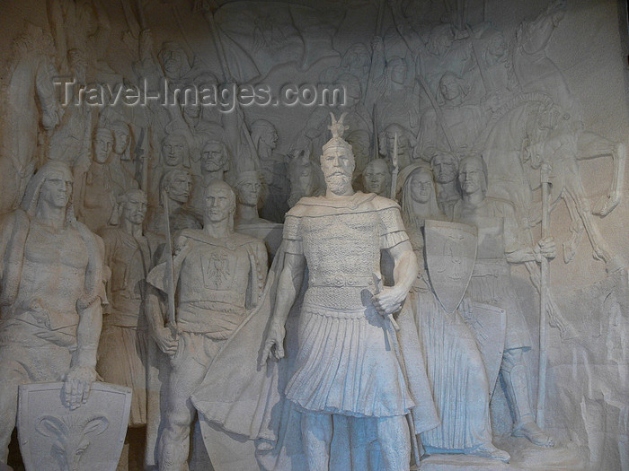 albania77: Kruje, Durres County, Albania: Skanderbeg  leads his troops against the Turks - Skanderbeg museum - photo by J.Kaman - (c) Travel-Images.com - Stock Photography agency - Image Bank