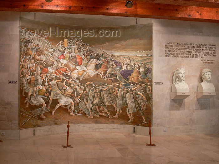 albania78: Kruje, Durres County, Albania: Skanderbeg museum - battle scene - Albanians fight against the Ottomans - photo by J.Kaman - (c) Travel-Images.com - Stock Photography agency - Image Bank
