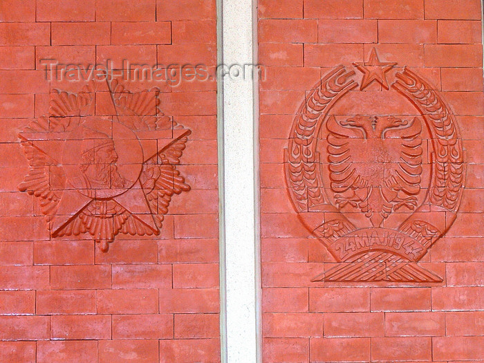 albania84: Kruje, Durres County, Albania: Skanderbeg and the double headed eagle in the Socialist perspective - red bricks - photo by J.Kaman - (c) Travel-Images.com - Stock Photography agency - Image Bank