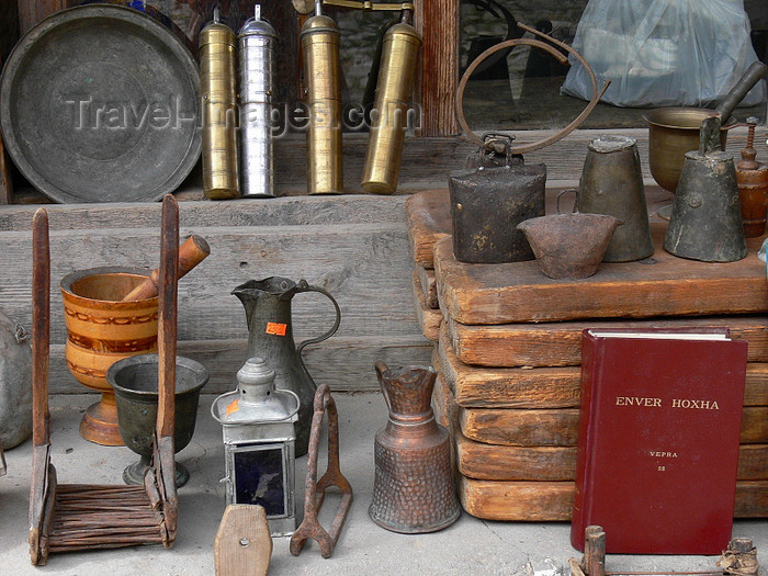 albania89: Kruje, Durres County, Albania: antiques and the writings of Enver Hoxha - local market - photo by J.Kaman - (c) Travel-Images.com - Stock Photography agency - Image Bank