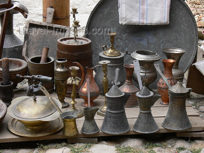 albania90: Kruje, Durres County, Albania: coffee pots - local market - photo by J.Kaman - (c) Travel-Images.com - Stock Photography agency - Image Bank